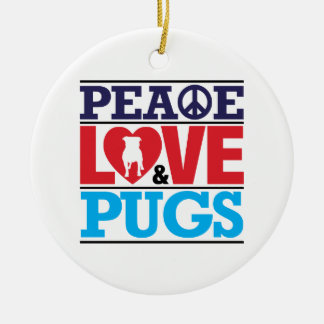 Peace Love and Pugs Double-Sided Ceramic Round Christmas Ornament