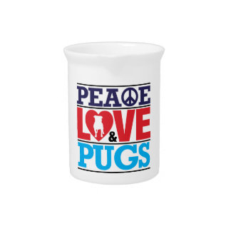 Peace Love and Pugs Drink Pitcher