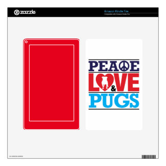 Peace Love and Pugs Skin For Kindle Fire