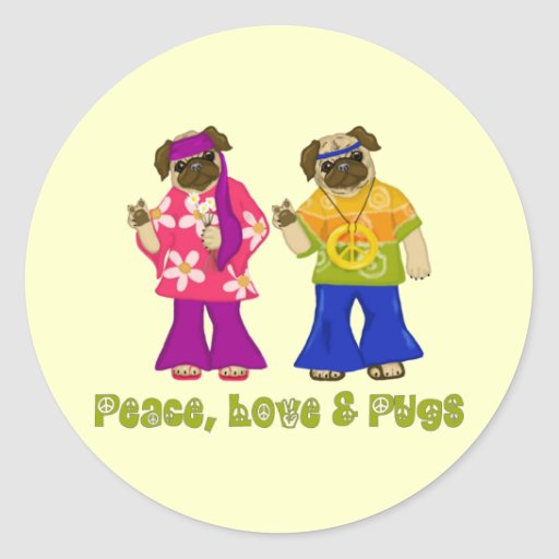 Peace, Love and Pugs Stickers
