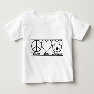 Peace Love and Puppies Baby T-Shirt