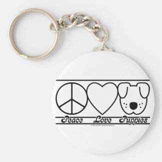 Peace Love and Puppies Keychain