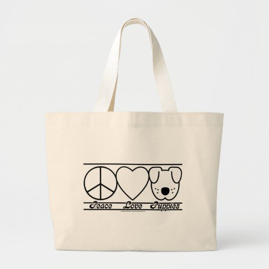 Peace Love and Puppies Large Tote Bag