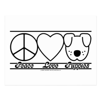 Peace Love and Puppies Postcard