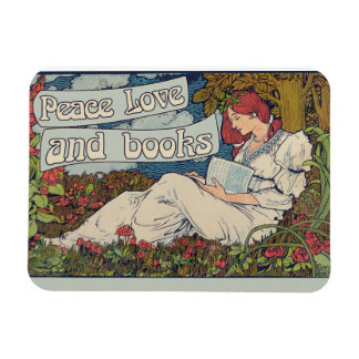 Peace love and reading books vintage reader magnet