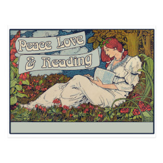 Peace love and reading postcard