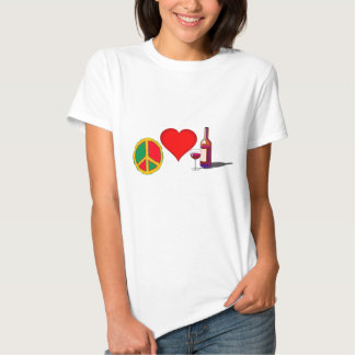 Peace, Love and RED WINE T Shirt