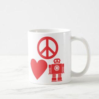Peace Love and Robots Classic White Coffee Mug