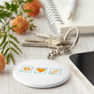 Peace Love and Running Squares Keychain