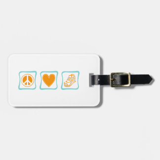 Peace Love and Running Squares Luggage Tag