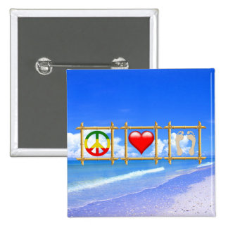 Peace, Love, And Sandy Feet 2 Inch Square Button