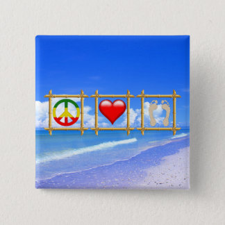 Peace, Love, And Sandy Feet Pinback Button