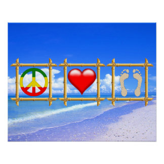 Peace, Love, And Sandy Feet Poster