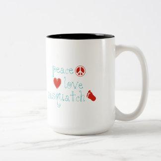 Peace Love And Sasquatch Mugs
