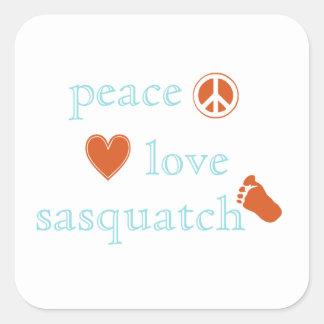 Peace Love And Sasquatch Square Sticker