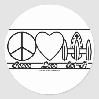 Peace Love and SciFi Classic Round Sticker