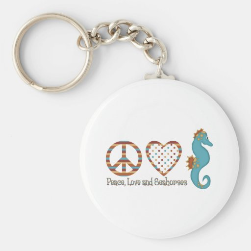 Peace, Love and Seahorses Basic Round Button Keychain