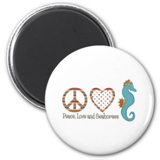 Peace, Love and Seahorses Magnet