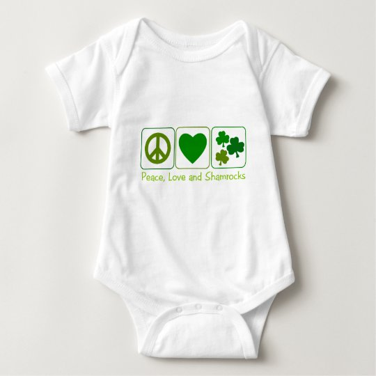 Peace, Love and Shamrocks Baby Bodysuit