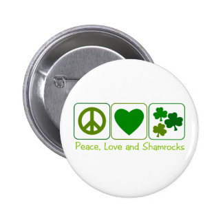 Peace, Love and Shamrocks Button