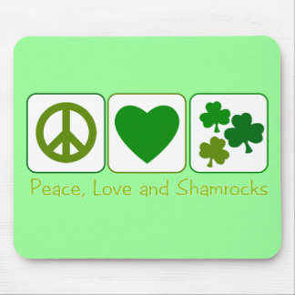 Peace, Love and Shamrocks Mouse Pad