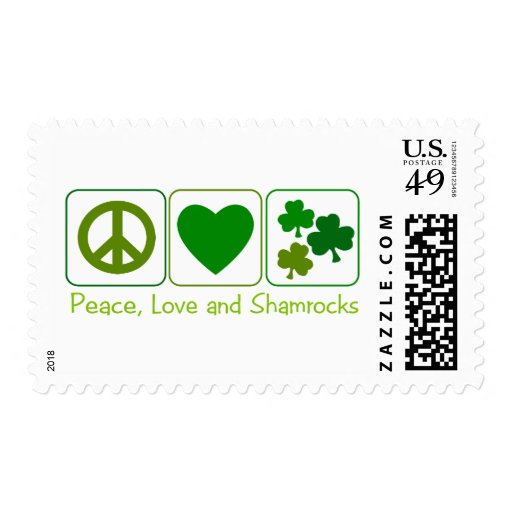 Peace, Love and Shamrocks Postage Stamps