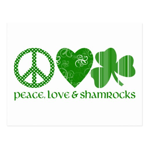 Peace, Love and Shamrocks Postcard