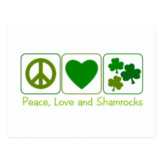 Peace, Love and Shamrocks Post Card