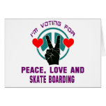 Peace Love And Skate Boarding. Greeting Card