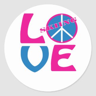 Peace, Love, and Skiing Shirts and Gifts Round Stickers