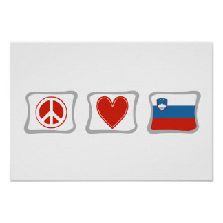Peace Love and Slovenia Squares Poster
