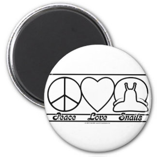 Peace Love and Snails 2 Inch Round Magnet