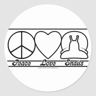 Peace Love and Snails Classic Round Sticker