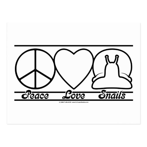 Peace Love and Snails Postcard