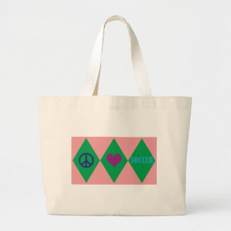 Peace Love and Soccer Argyle Jumbo Tote Bag