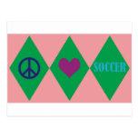 Peace Love and Soccer Argyle Postcard