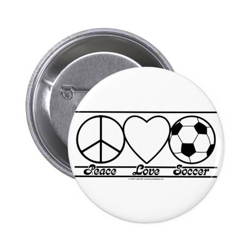 Peace Love and Soccer Button