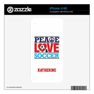 Peace, Love and Soccer-Choose A Background Color iPhone 4S Decal
