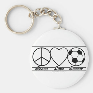 Peace Love and Soccer Keychain