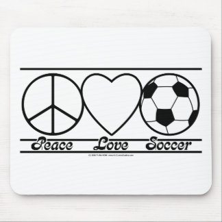 Peace Love and Soccer Mouse Pad