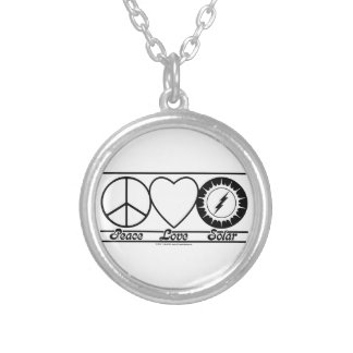 Peace Love and Solar Round Pendant Necklace