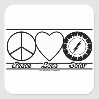 Peace Love and Solar Square Sticker
