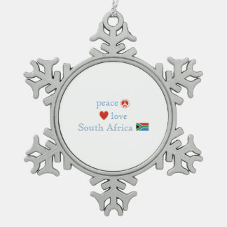 Peace Love and South Africa Snowflake Pewter Christmas Ornament