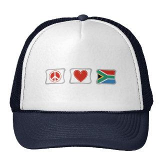 Peace Love and South Africa Squares Trucker Hat