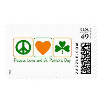 Peace, Love and St Patty's Day Postage