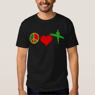 Peace, Love and SURFING T Shirts