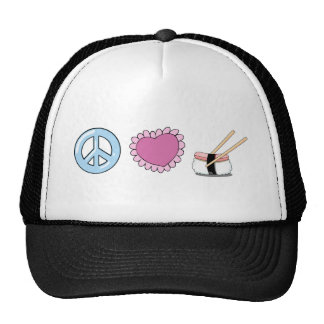Peace Love and Sushi Trucker Hat