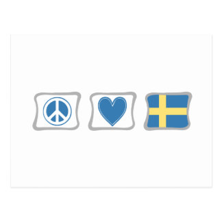 Peace Love and Sweden Squares Postcard