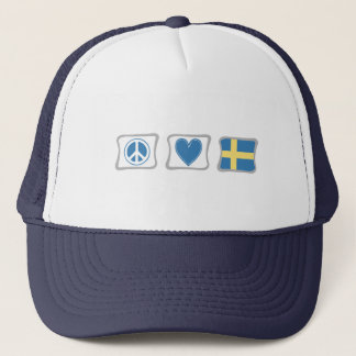Peace Love and Sweden Squares Trucker Hat