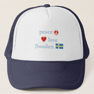 Peace Love and Sweden Trucker Hat